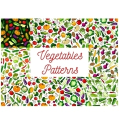 Vegetables patterns set Vegetarian background vector image