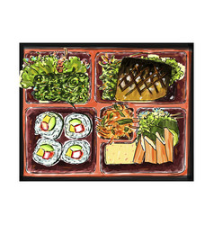 Bento food japan sketchbook style vector