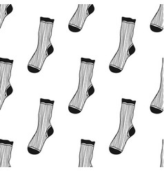 Decorative doodle socks black and white seamless vector