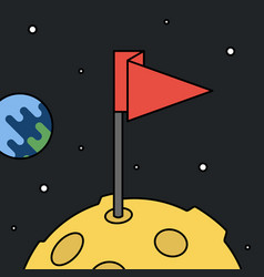 Moon with flag in space achievement and success vector