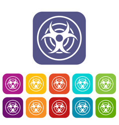 Sign of biological threat icons set flat vector