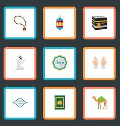 Flat icons islamic lamp mecca dromedary and vector