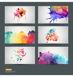 Set of six watercolor abstract hand drawn vector