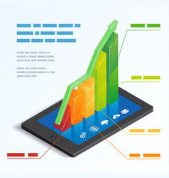 Bar graph on a tablet touchscreen vector