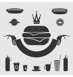 Symbol fast food set vector