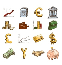 Finance icons set sketch colored vector image