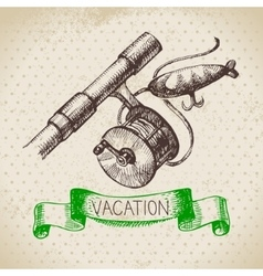 Vintage hand drawn sketch family vacation vector