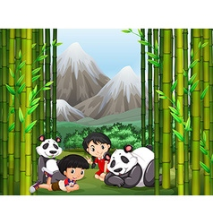 Asian boy and girl with panda vector