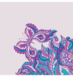 Greeting card with paisley pattern and butterfly vector