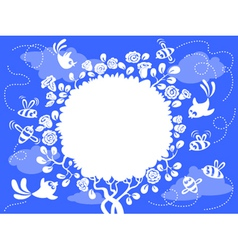 cute frame with birds and bee vector image
