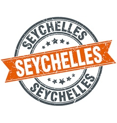 Seychelles red round grunge vintage ribbon stamp vector