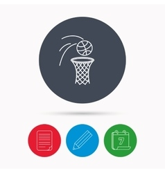 Basketball icon basket with ball sign vector