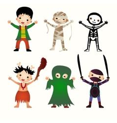 An of kids in halloween costumes vector image vector image