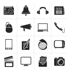 Black communication and media icons vector