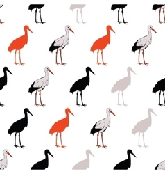 Black rad standing cranes seamless pattern vector