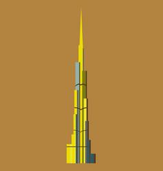 burj khalifa tower icon uae dubai symbol gray vector image