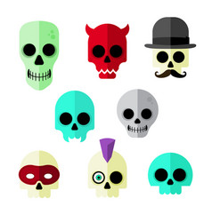 cartoon skulls vector image vector image
