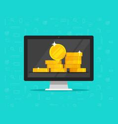 computer money on screen flat cartoon of vector image