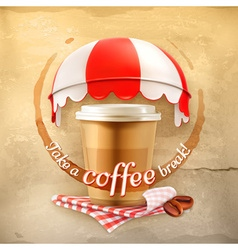 Cup of coffee with coffee stain tablecloths coffee vector image