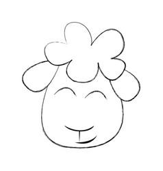 cute sheep drawing character vector image vector image