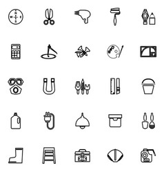 Diy tool line icons on white background vector