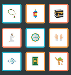 Flat icons islamic lamp mecca dromedary and vector