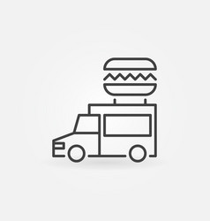 Food truck outline icon - truck with vector