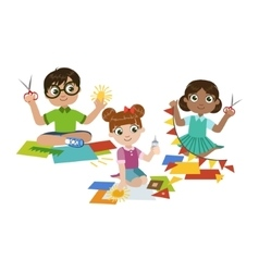 Kids Doing The Paper Craft vector image vector image