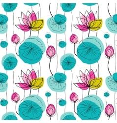 Lotus seamless pattern vector