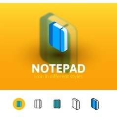 Notepad icon in different style vector