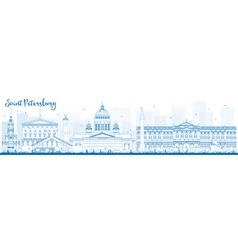Outline saint petersburg skyline with landmarks vector