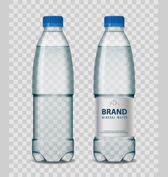 Plastic bottle with mineral water with blue cap on vector