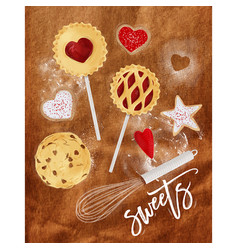 poster sweets craft vector image
