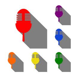 Retro microphone sign set of red orange yellow vector
