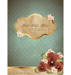 Romantic blue vintage banner with flowers vector image