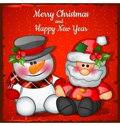 Santa Claus and snowman on a red background vector image vector image