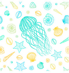Seamless pattern with jellyfish and shells in line vector