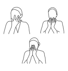 set of woman face massage outline vector image vector image