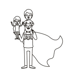 Silhouette cartoon full body super dad hero with vector