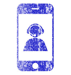 Smartphone operator contact portrait textured icon vector
