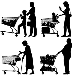 Supermarket shoppers vector image
