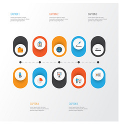 Trade flat icons set collection of pie bar vector