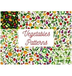 Vegetables patterns set Vegetarian background vector image vector image