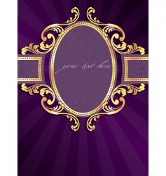vertical label with gold filigree vector image vector image