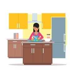 Woman cooking salad vector