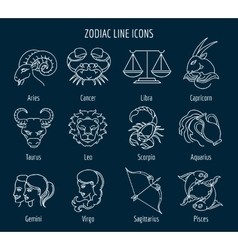 Zodiac line icons vector