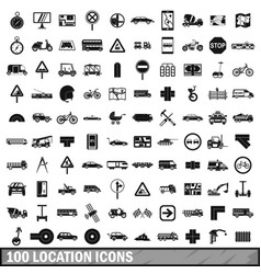 100 location icons set simple style vector