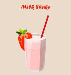 strawberry milk shake vector image