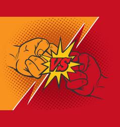 Versus rivalry fist background vector