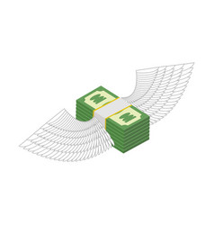 Flying money cash with wings financial income and vector